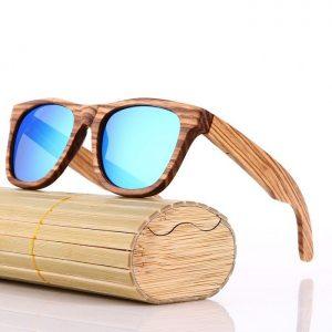 Zebra Fából készült Férfi Napszemüveg + Ajándék